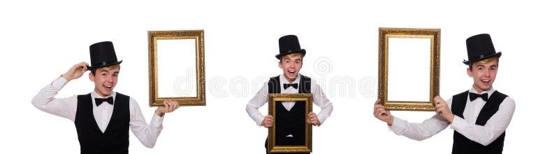 Guy with photo frame isolated on white stock photo