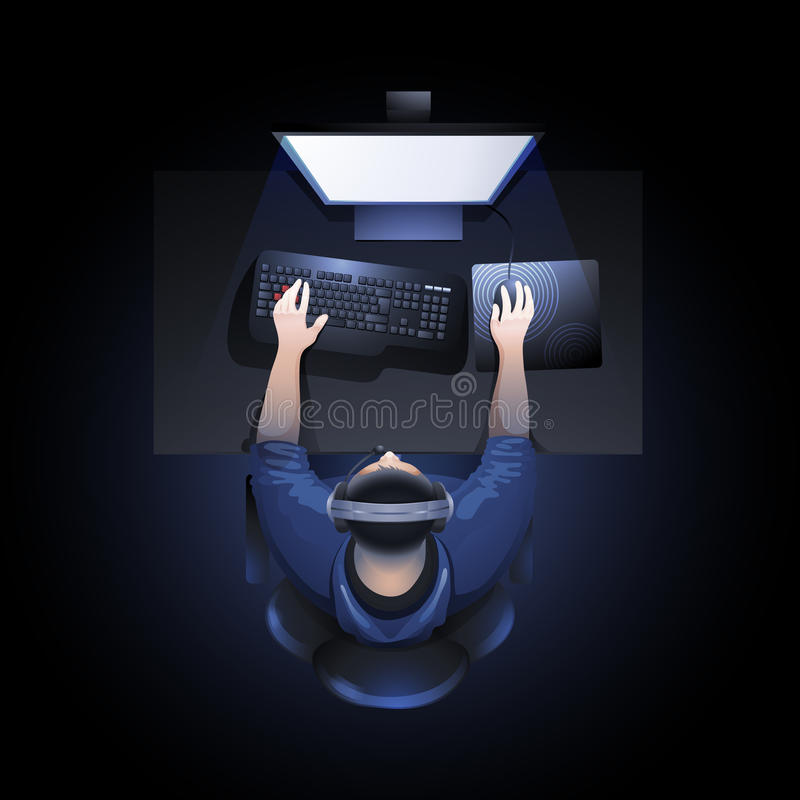 Guy playing the computer. Young man sitting at the table and playing computer. Top view. Cyber sport concept stock illustration