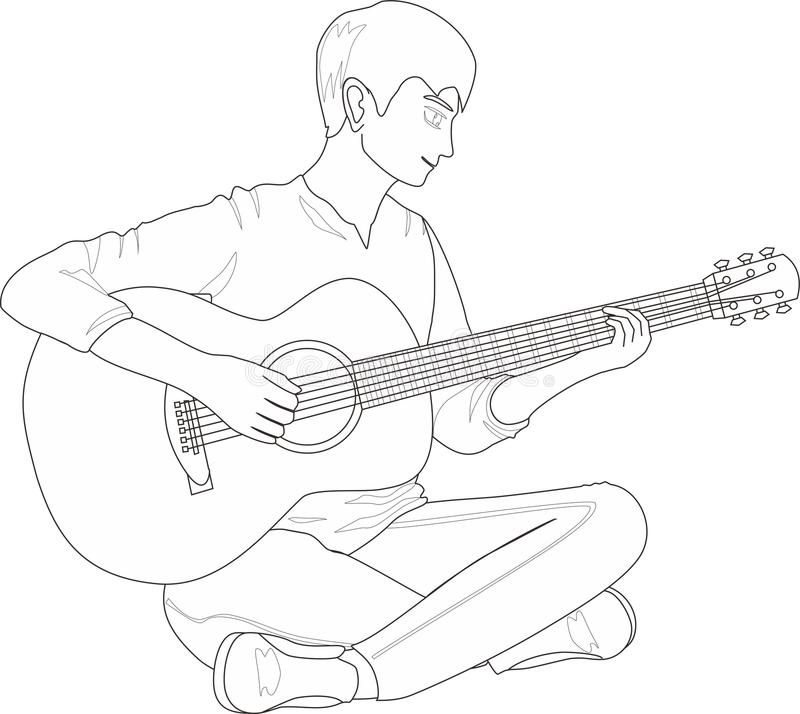 Download A Guy Playing Guitar Stock Vector Illustration Of