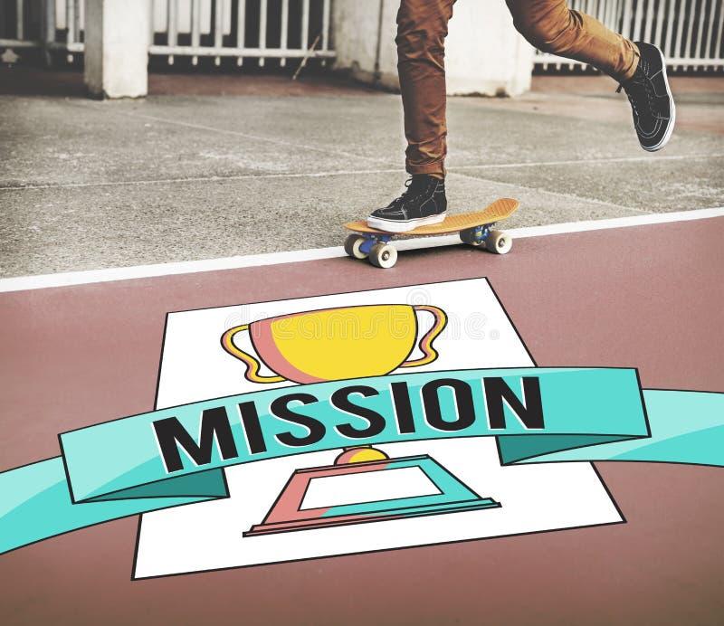 Guy Playing Skateboard Mission Concept fotos de archivo