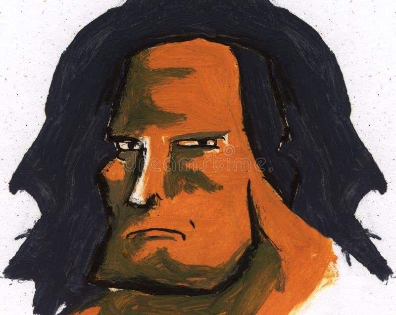 Guy Portrait dur, graphiques de vecteur de T-shirt illustration libre de droits