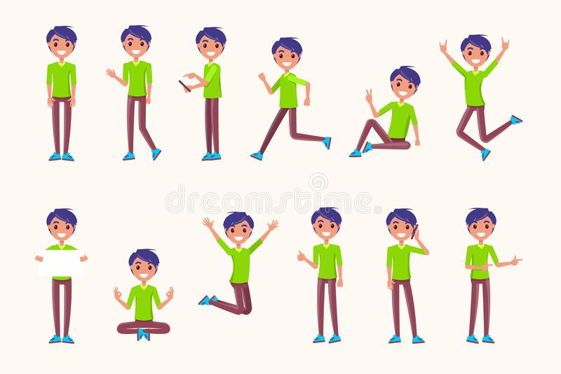 Guy Poses in Movement, During Jump, While Running. During rest, non verbal communication signs. Vector illustration of boy meditation, speaking on telephone vector illustration