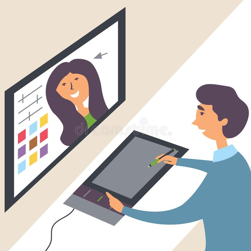 The guy processes the photo of the model on the computer through a photo editor. Sits at a graphic tablet vector illustration