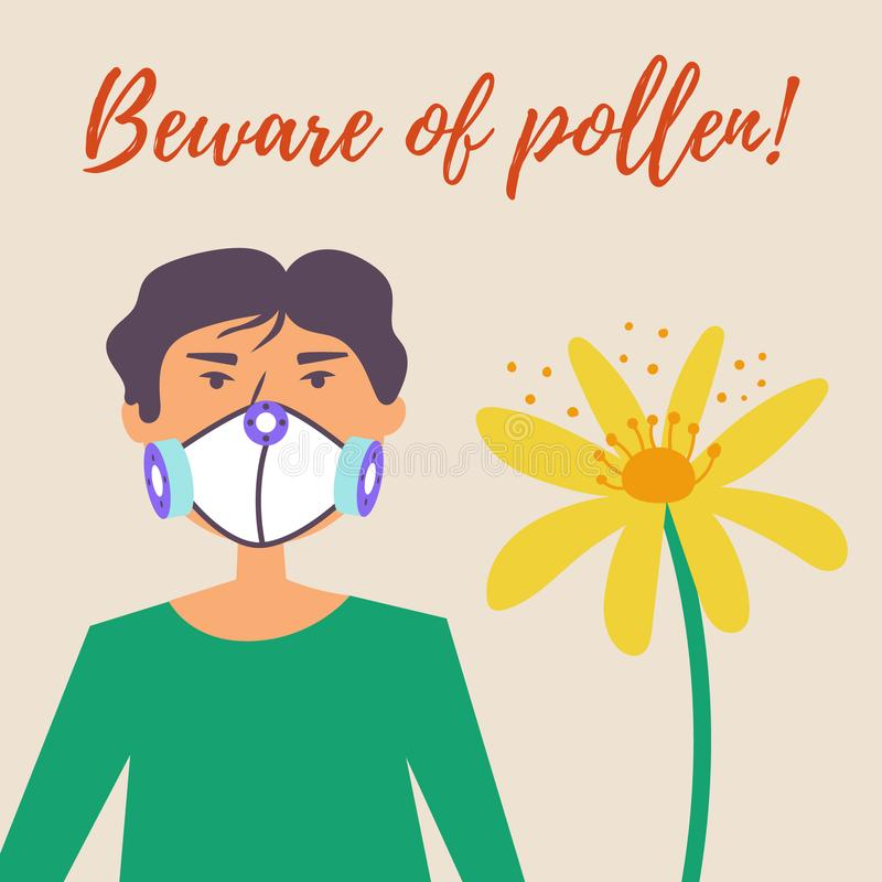A guy in a protective mask suffers from allergies. Allergy to pollen of flowers. Vector editable illustration stock illustration