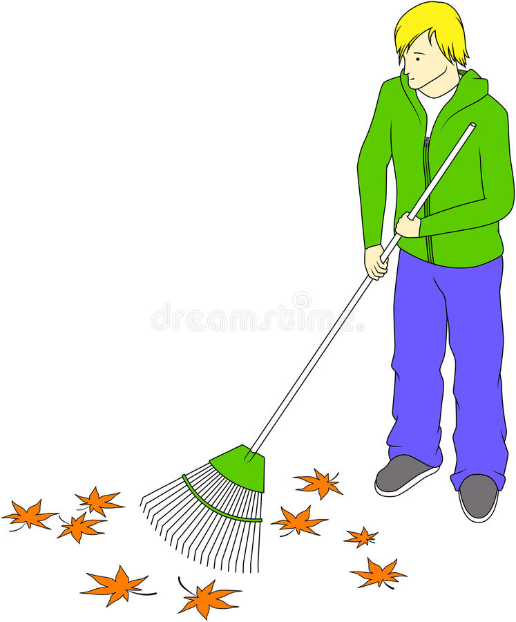 Guy raking leaves royalty free illustration