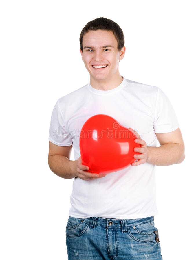 Guy With A Red Heart Royalty Free Stock Photo