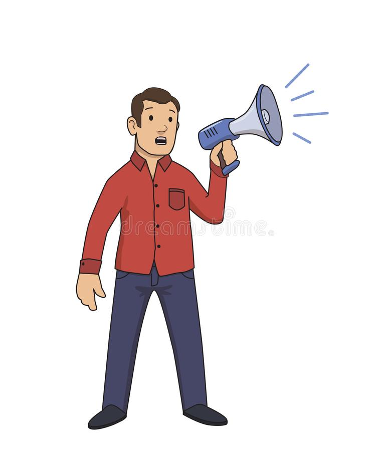 Guy in red shirt holding a megaphone. Activism, protest. Flat vector illustration. Isolated on white background. Guy in red shirt holding a megaphone. Activism stock illustration