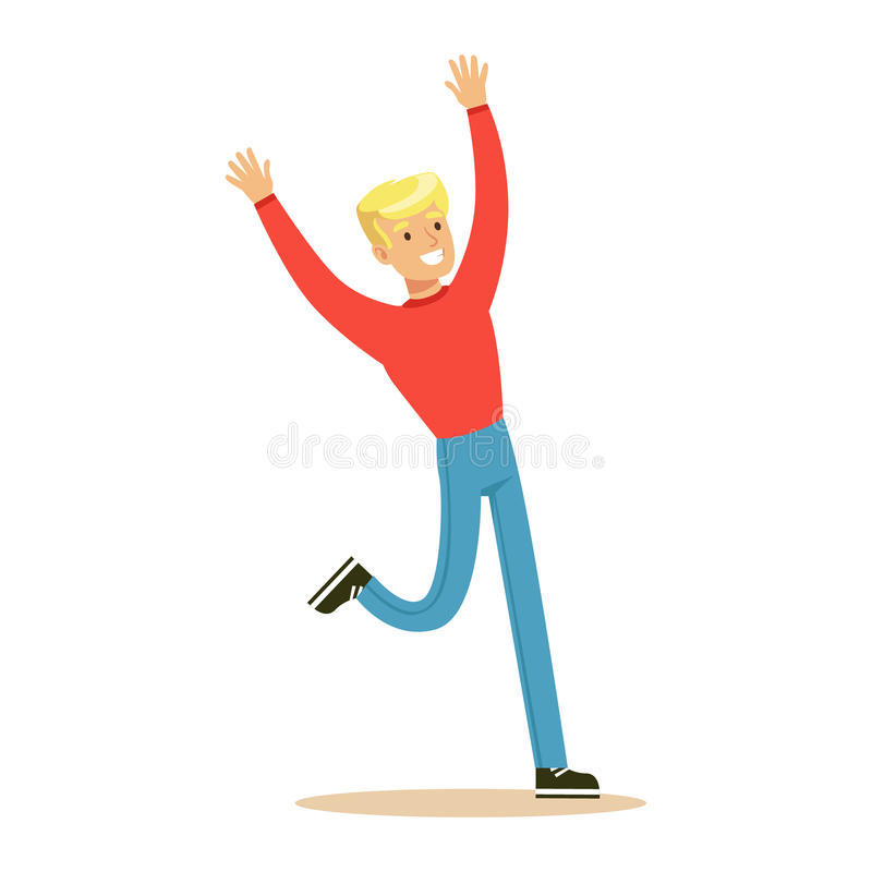 Guy In Red Sweater Overwhelmed biondo con felicità e personaggio dei cartoni animati sorridente allegro estatico e felice royalty illustrazione gratis