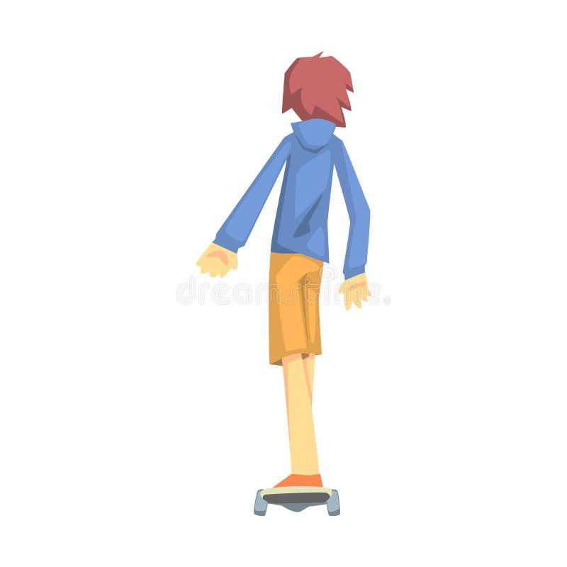 Guy Riding en Skateoard, del av tonåringar som öva extrema sportar för rekreationuppsättning av tecknad filmtecken stock illustrationer