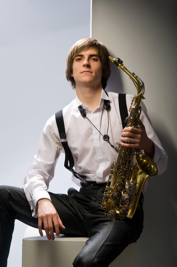 Guy And Sax Royalty Free Stock Photography