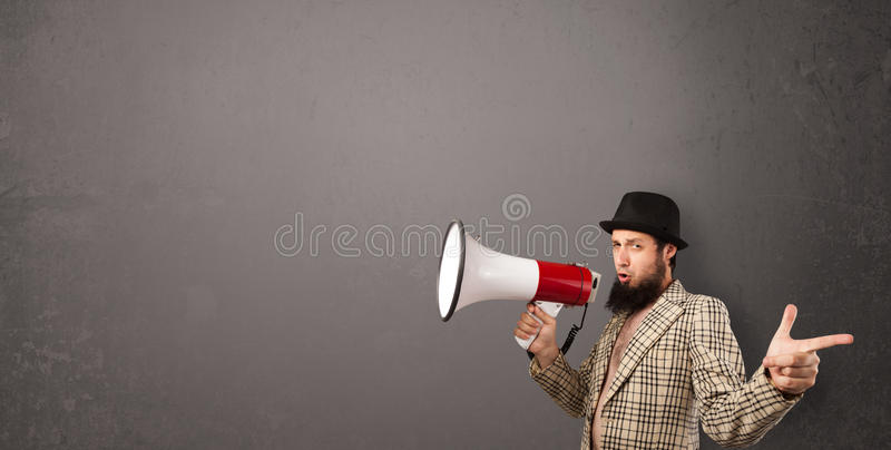 Download Guy Shouting Into Megaphone Royalty Free Stock Image - Image: 36570866