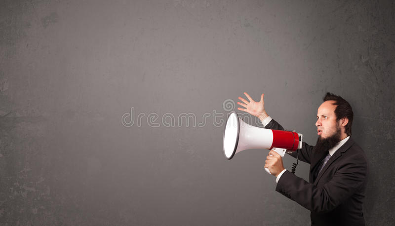 Download Guy Shouting Into Megaphone On Copy Space Background Stock Image - Image: 34998873