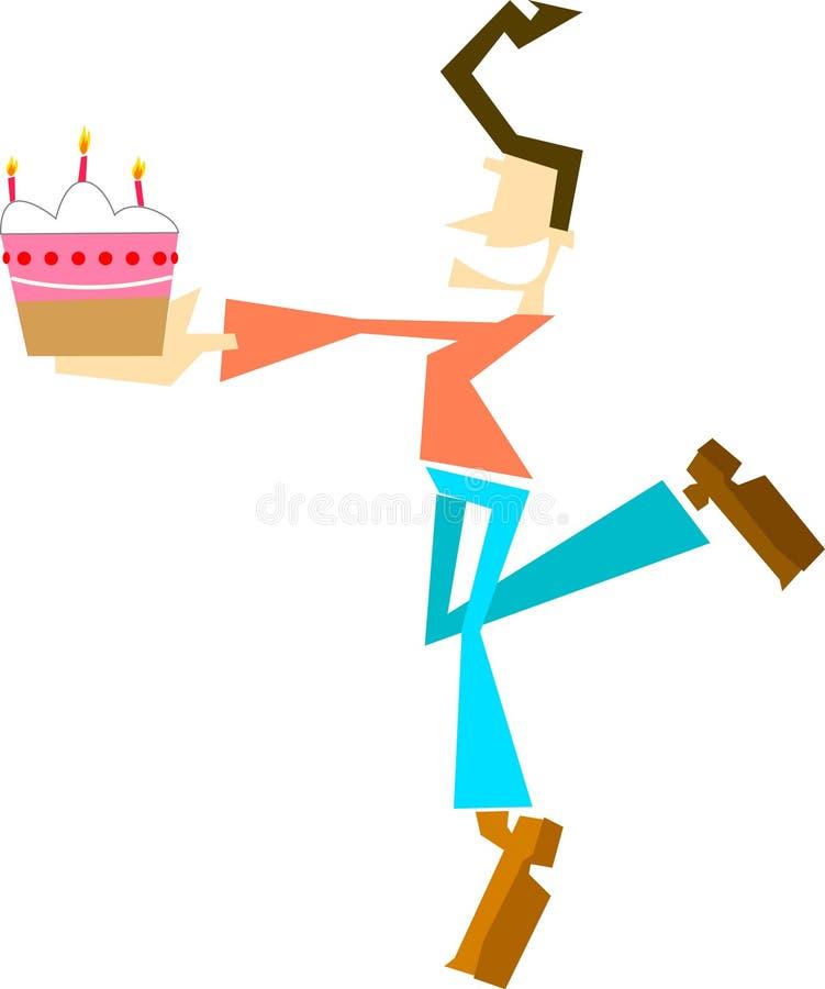 Guy showing the cake royalty free illustration