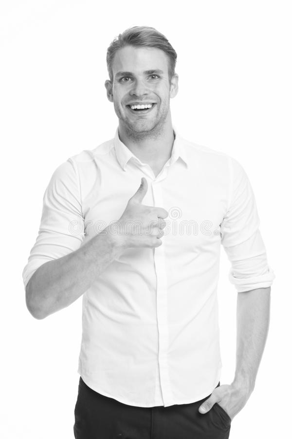 Guy shows thumbs up gesture. Excellent quality. Man confidently highly recommend white background. Guy with bristle. Recommend excellent item. Man shop royalty free stock photos