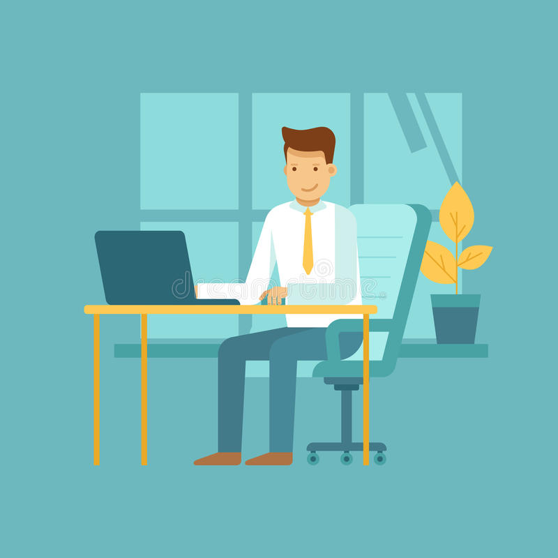 Guy sitting at the desk with laptop - freelance work concept. Vector illustration in flat style with business man character - guy sitting at the desk with laptop vector illustration