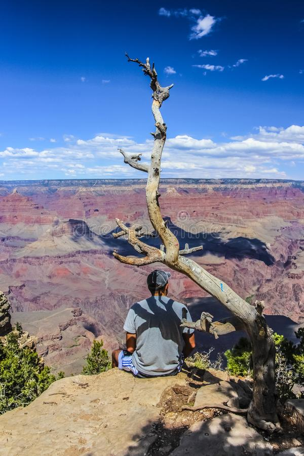 Guy Sitting joven al borde de Grand Canyon foto de archivo libre de regalías