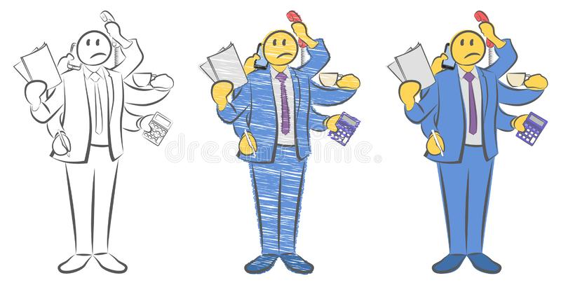 Guy with six hands holding objects. Worker with multitasking and multi skill. Not enough hands. Can not get in time. Super busines stock illustration