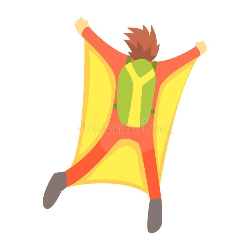 Guy Skydiving With Wingsuit And hoppa fallskärm, delen av tonåringar som öva extrema sportar stock illustrationer