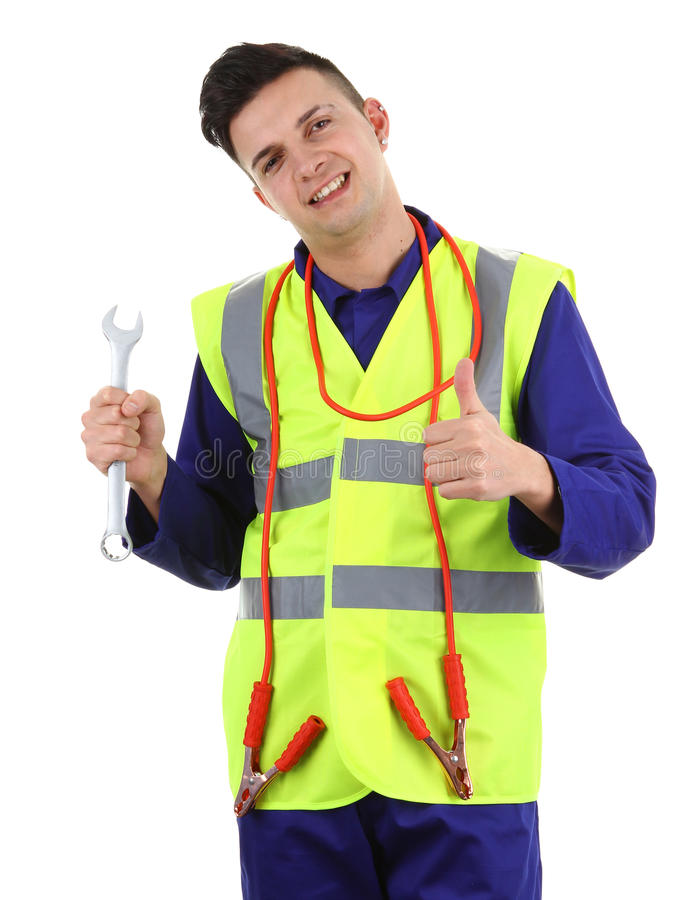 Download Guy With A Spanner And Cables Stock Photo - Image of electricity, charge: 23584430
