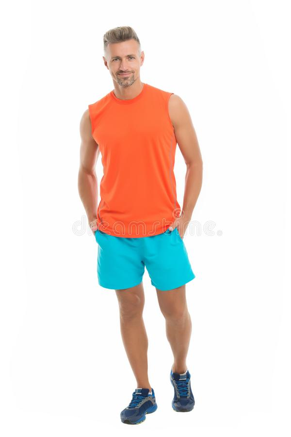 Guy sport outfit. Fashion concept. Man model clothes shop. Sport style. Menswear and fashionable clothing. Man calm face. Posing confidently white background stock photos