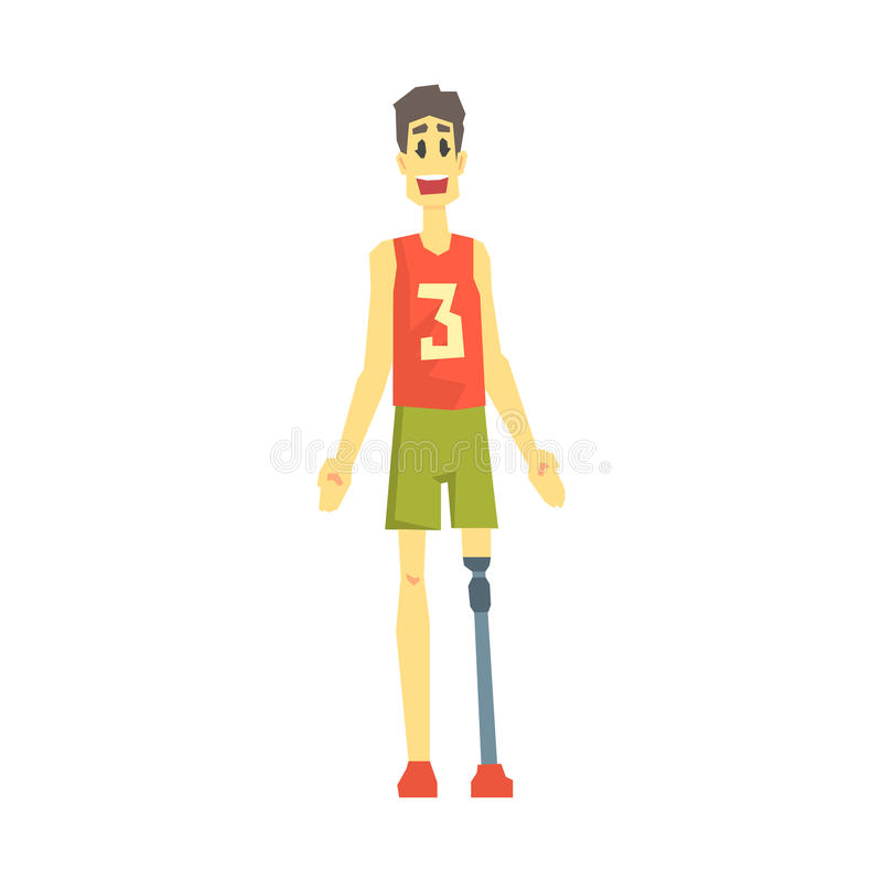 Guy In Sportive Outfit With Artificial Leg, Young Person With Disability Overcoming The Injury Living Full Live Vector vector illustration