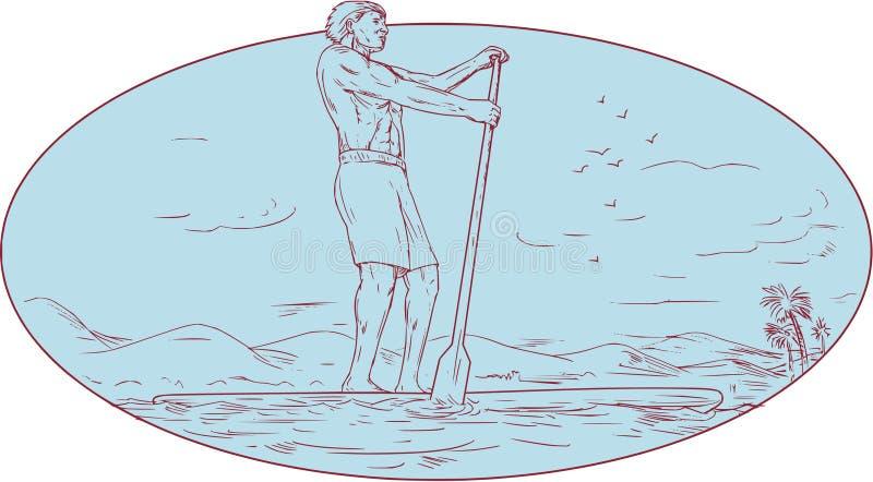 Guy Stand Up Paddle Tropical-Insel-ovale Zeichnung lizenzfreie abbildung
