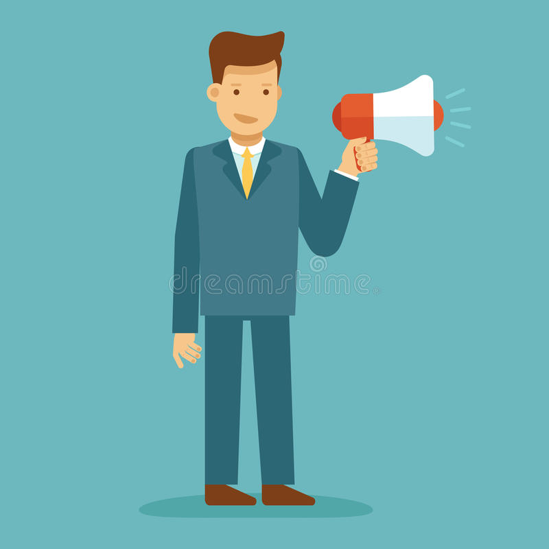 Free Guy Standing And Holding Megaphone - Marketing And Advertising C Stock Photography - 91639182