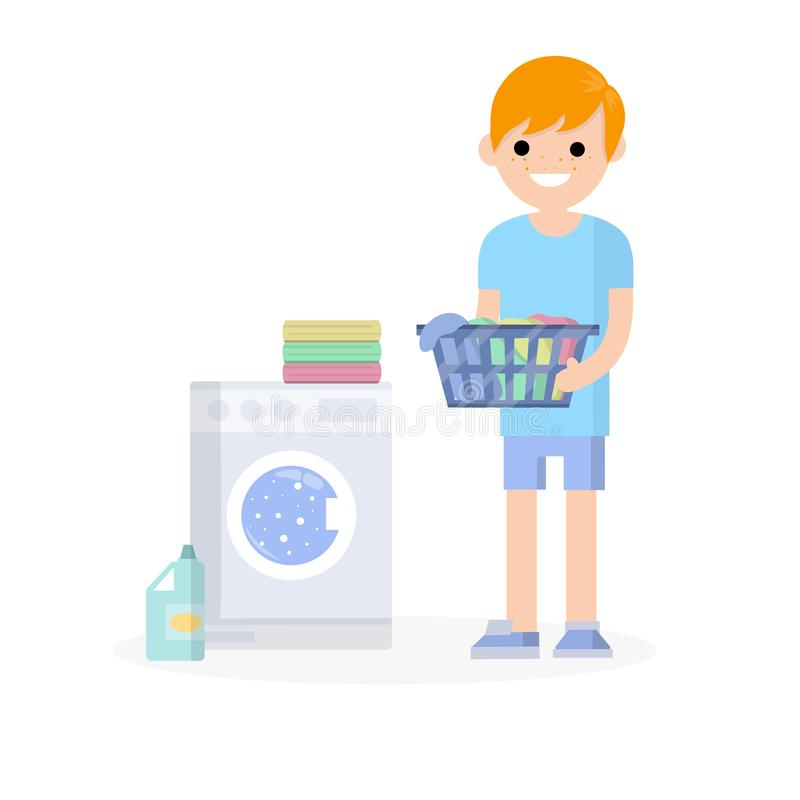 Cartoon flat illustration - a young red hair guy in a blue dress. Guy is standing with folded clothes in his hands. doing Laundry with a washing machine and vector illustration