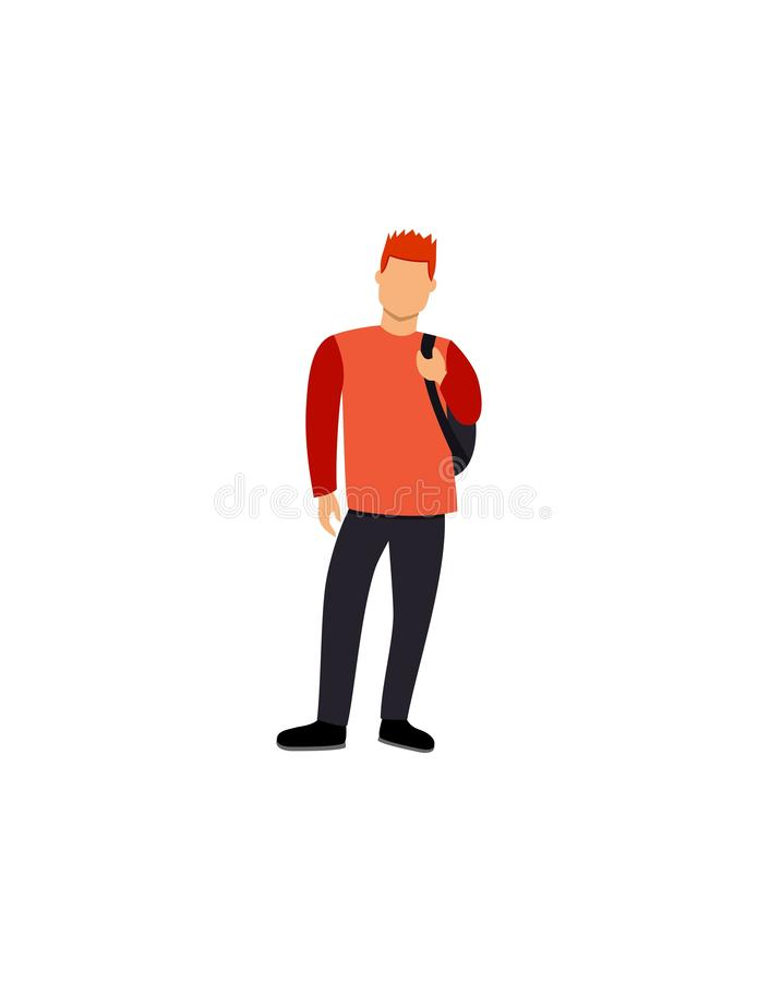 The guy is standing, isolated drawing man, royalty free illustration