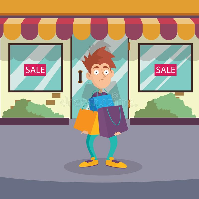 Guy standing on street near entrance to store. Cartoon male character with shocked face expression with lots of shopping stock illustration