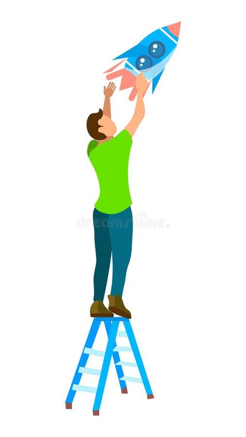 Guy Standing sull'illustrazione piana di vettore della scala illustrazione di stock