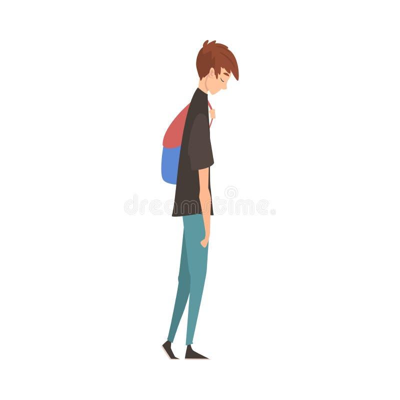 Guy Standing triste infelice con lo zaino, adolescente depresso che ha problemi, studente sollecitato Vector Illustration royalty illustrazione gratis