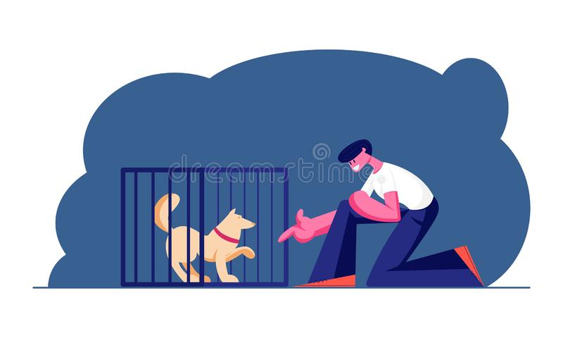 Guy Stretch Hand to Dog in Cage. Wildlife Protection and Rescue Man Adopting Pet from Shelter. Pound, Rehabilitation royalty free illustration