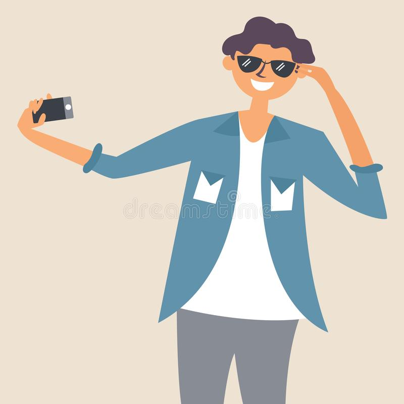 The guy in the sunglasses takes a selfie. Photographer. Editable vector illustration stock illustration