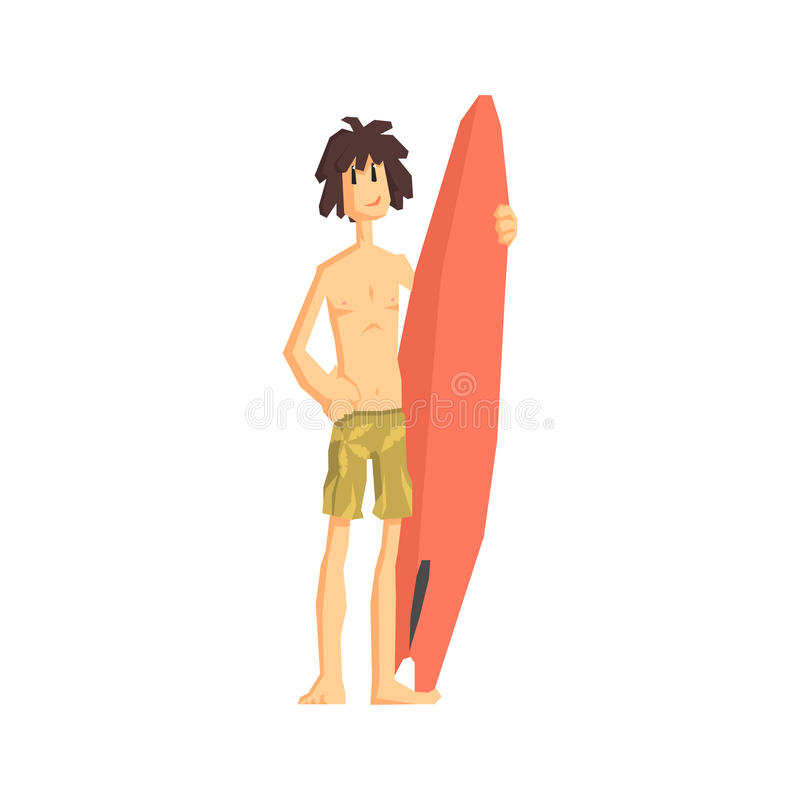 Guy With The Surf Board vector illustration