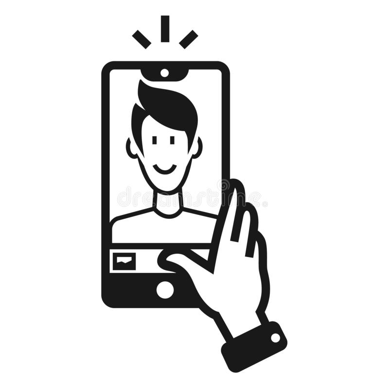 Guy takes a selfie icon, simple style. Guy takes a selfie icon. Simple illustration of guy takes a selfie vector icon for web design isolated on white background stock illustration
