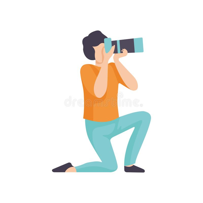 Guy Taking Photos with Modern Digital Camera, Male Professional Photographer Character Making Picture Vector royalty free illustration
