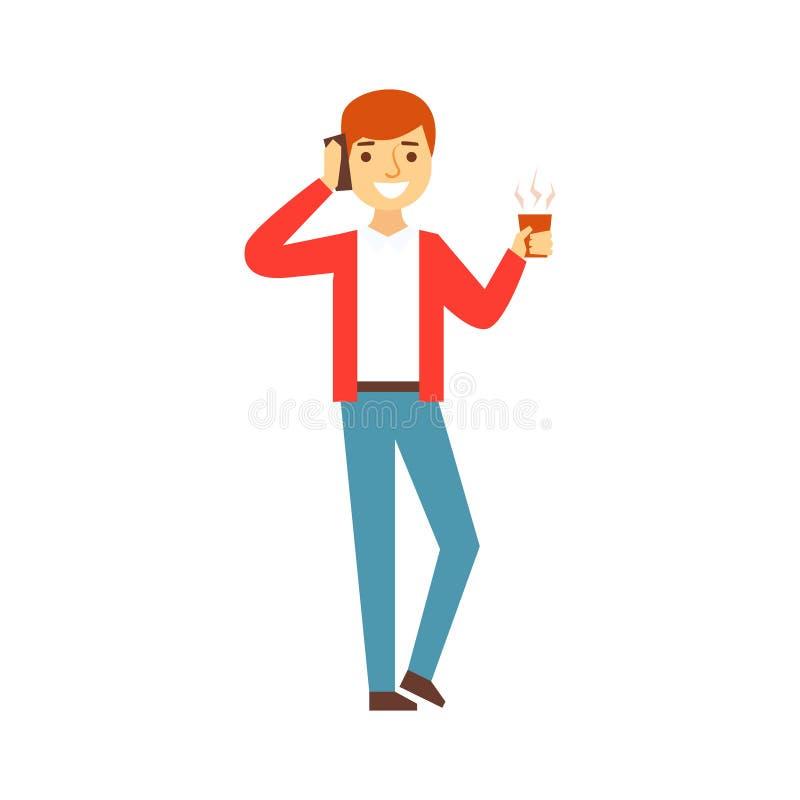 Guy Talking On The Phone met Kop van Koffie, Person Being Online All The-Tijd met Gadget wordt geobsedeerd dat stock illustratie