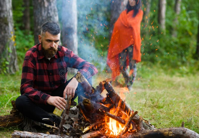 Guy with tired face and lonely at picnic, barbecue royalty free stock photos