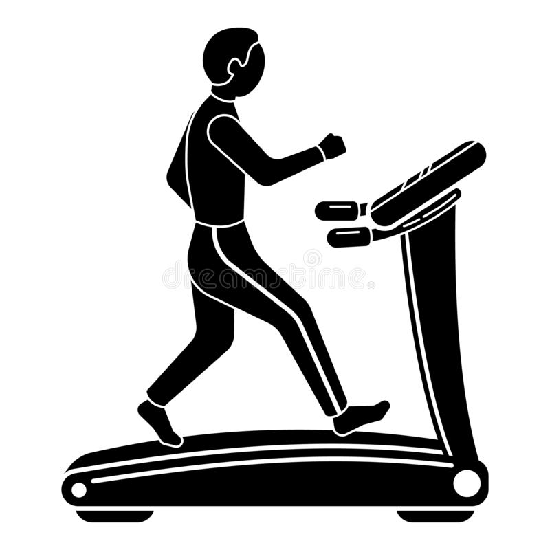 The guy on the treadmill icon, simple style vector illustration