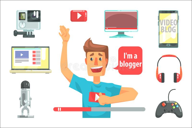 Guy Video Blogger And His Recording Equipment, Set Of Blog And On Line Blogging Icons Around A Show Host. Man Streaming His Personal Podcast And Internet vector illustration