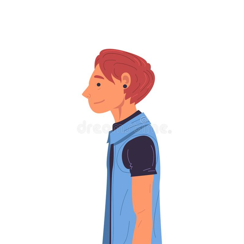 Guy Wearing Casual Clothes and Earring Side View Vector Illustration stock illustration