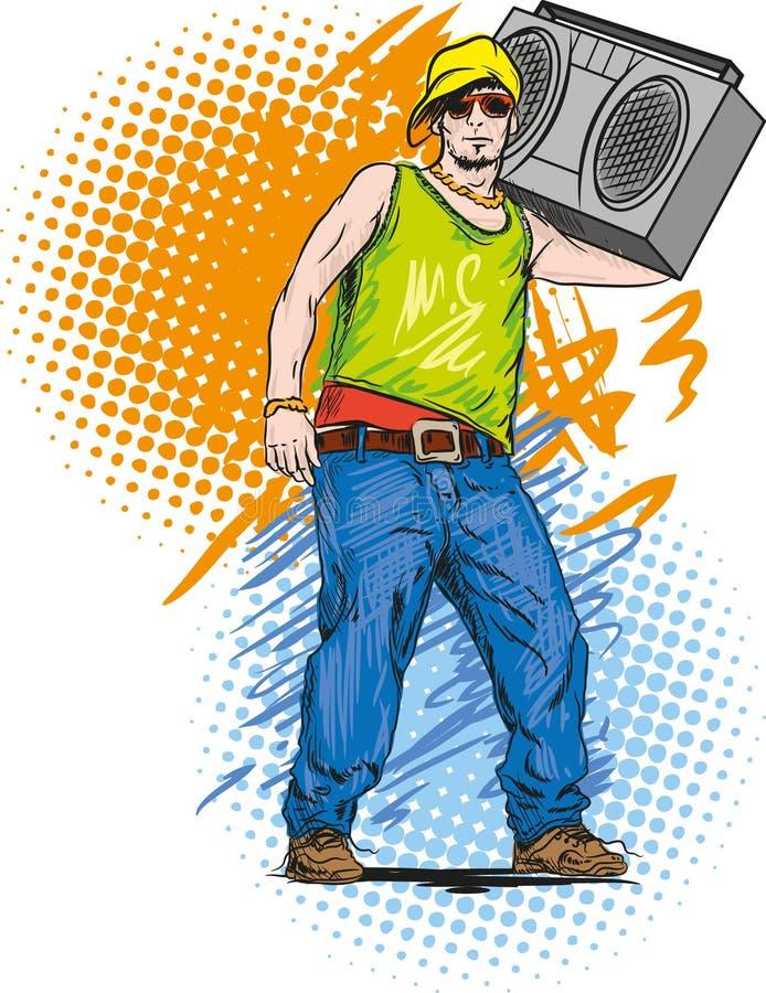 Hip hop. The guy who listening hip-hop music stock illustration