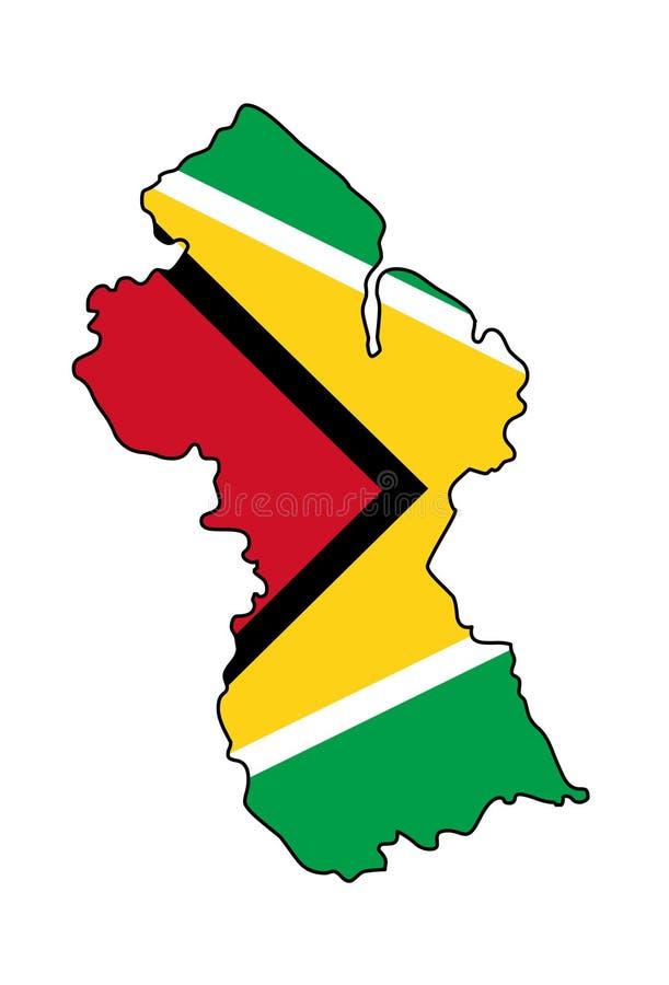 guyana Översikt av den Guyana vektorillustrationen Patriotisk översikt Guyana vektor illustrationer