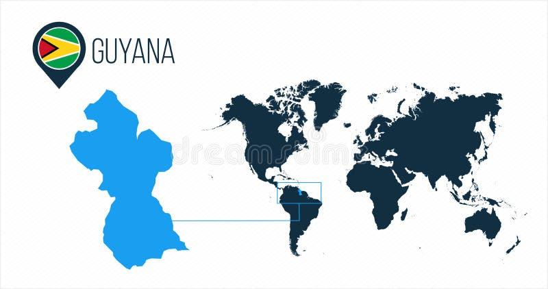Guyana översikt som lokaliseras på en världskarta med flaggan och översiktspekare eller stift Infographic översikt Vektorillustra vektor illustrationer
