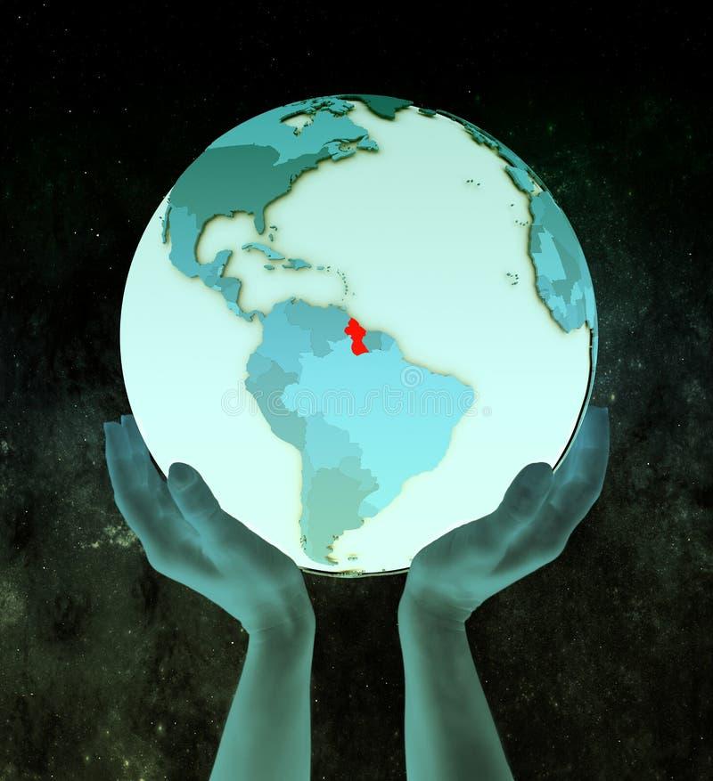 Guyana auf blauer Kugel in den Händen vektor abbildung