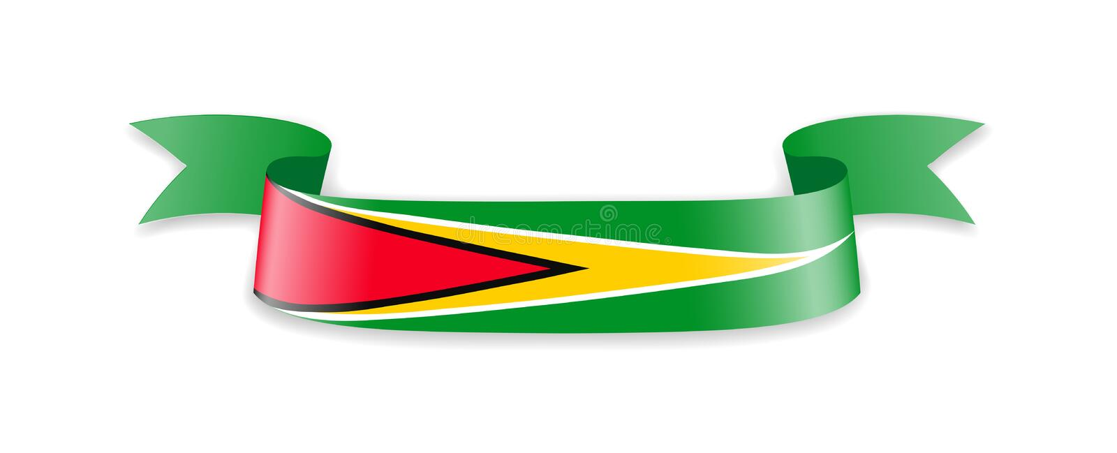 Guyana flag in the form of wave ribbon. royalty free illustration
