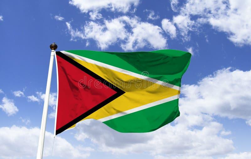 Guyana flagga, modell som fladdrar under en blå himmel royaltyfri fotografi