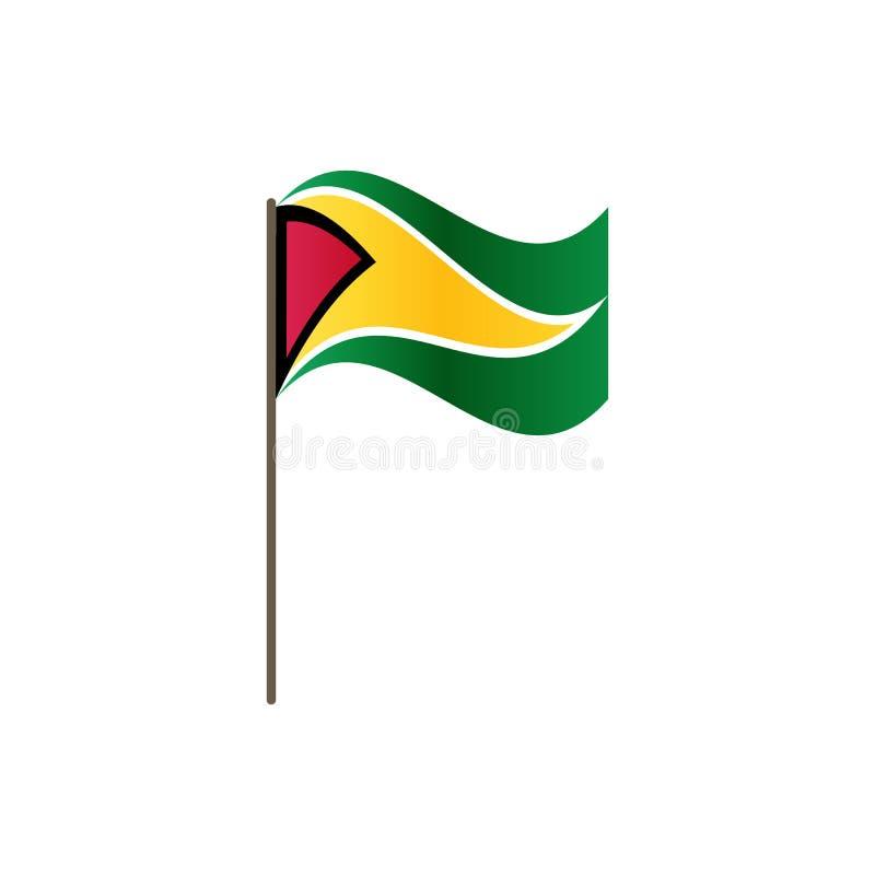 Guyana flagga på flaggstången Representantfärger och proportion korrekt Vinka av den Guyana flaggan på flaggstång, vektorillustra royaltyfri illustrationer