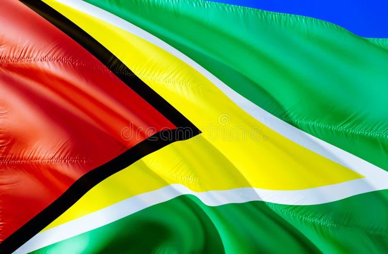 Guyana flagga vinkande design för flagga 3D Det nationella symbolet av Guyana, tolkning 3D Nationella färger och medborgareSydame arkivfoton